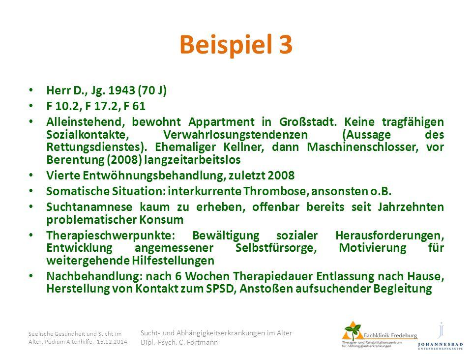 Beispiel 3 Herr D., Jg. 1943 (70 J) F 10.2, F 17.2, F 61 Alleinstehend, bewohnt Appartment in Großstadt. Keine tragfähigen Sozialkontakte, Verwahrlosu