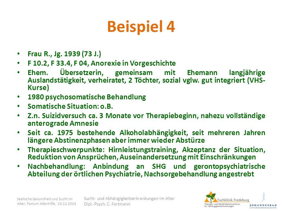 Beispiel 4 Frau R., Jg. 1939 (73 J.) F 10.2, F 33.4, F 04, Anorexie in Vorgeschichte Ehem. Übersetzerin, gemeinsam mit Ehemann langjährige Auslandstät