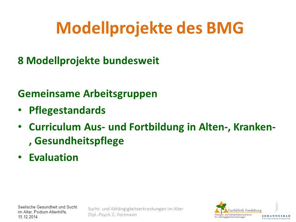 Seelische Gesundheit und Sucht im Alter, Podium Altenhilfe, 15.12.2014 Modellprojekte des BMG 8 Modellprojekte bundesweit Gemeinsame Arbeitsgruppen Pf