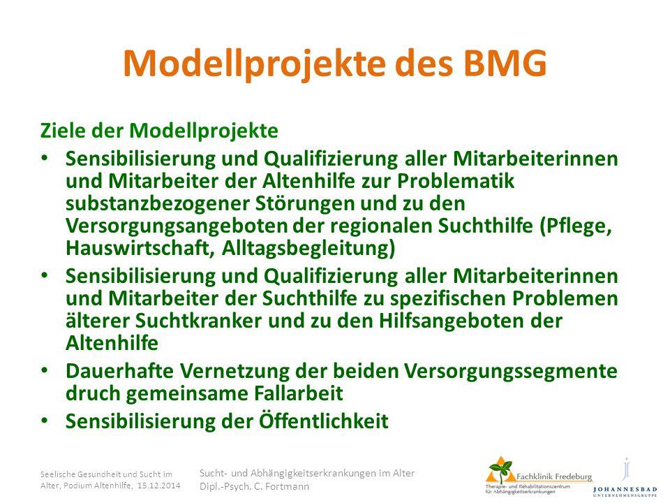 Modellprojekte des BMG Ziele der Modellprojekte Sensibilisierung und Qualifizierung aller Mitarbeiterinnen und Mitarbeiter der Altenhilfe zur Problema
