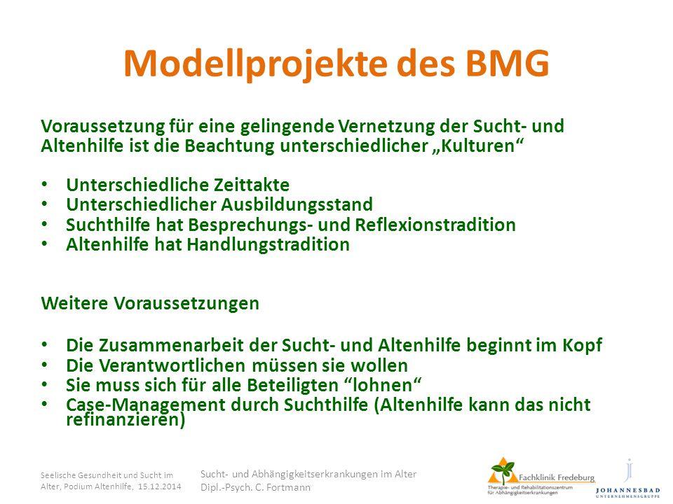 """Modellprojekte des BMG Voraussetzung für eine gelingende Vernetzung der Sucht- und Altenhilfe ist die Beachtung unterschiedlicher """"Kulturen"""" Unterschi"""