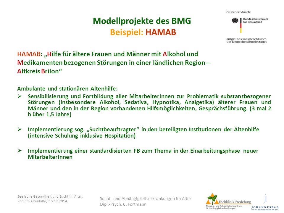 """Seelische Gesundheit und Sucht im Alter, Podium Altenhilfe, 15.12.2014 Modellprojekte des BMG Beispiel: HAMAB HAMAB: """"Hilfe für ältere Frauen und Männ"""