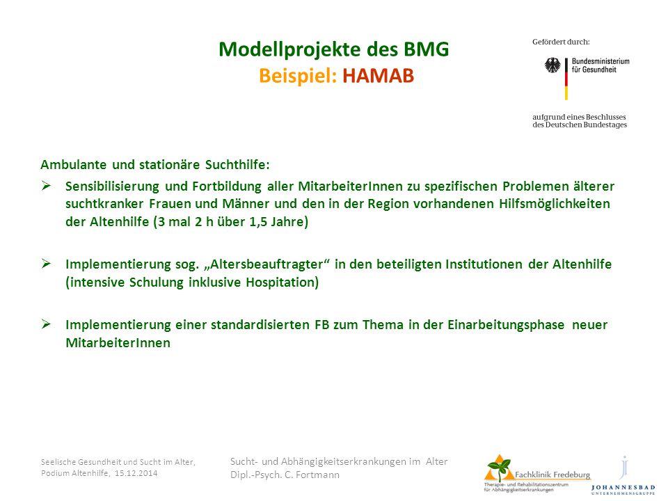 Seelische Gesundheit und Sucht im Alter, Podium Altenhilfe, 15.12.2014 Modellprojekte des BMG Beispiel: HAMAB Ambulante und stationäre Suchthilfe:  S