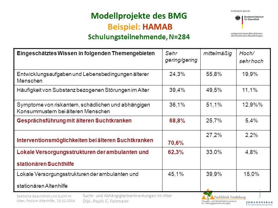 Seelische Gesundheit und Sucht im Alter, Podium Altenhilfe, 15.12.2014 Modellprojekte des BMG Beispiel: HAMAB Schulungsteilnehmende, N=284 Eingeschätz