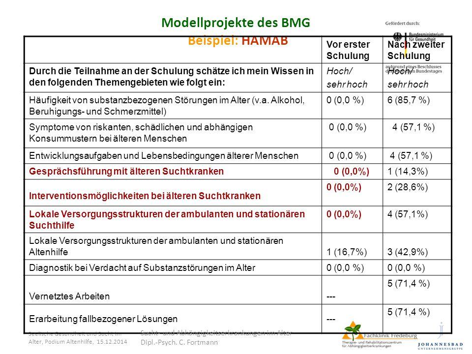 Seelische Gesundheit und Sucht im Alter, Podium Altenhilfe, 15.12.2014 Modellprojekte des BMG Beispiel: HAMAB Vor erster Schulung Nach zweiter Schulun
