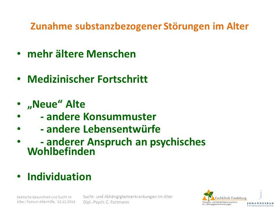 Sucht- und Abhängigkeitserkrankungen im Alter Erfordernisse, Erfahrungen, Perspektiven 5.