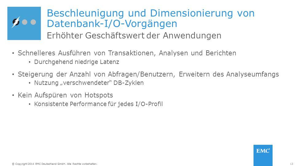 13© Copyright 2014 EMC Deutschland GmbH. Alle Rechte vorbehalten. Beschleunigung und Dimensionierung von Datenbank-I/O-Vorgängen Schnelleres Ausführen