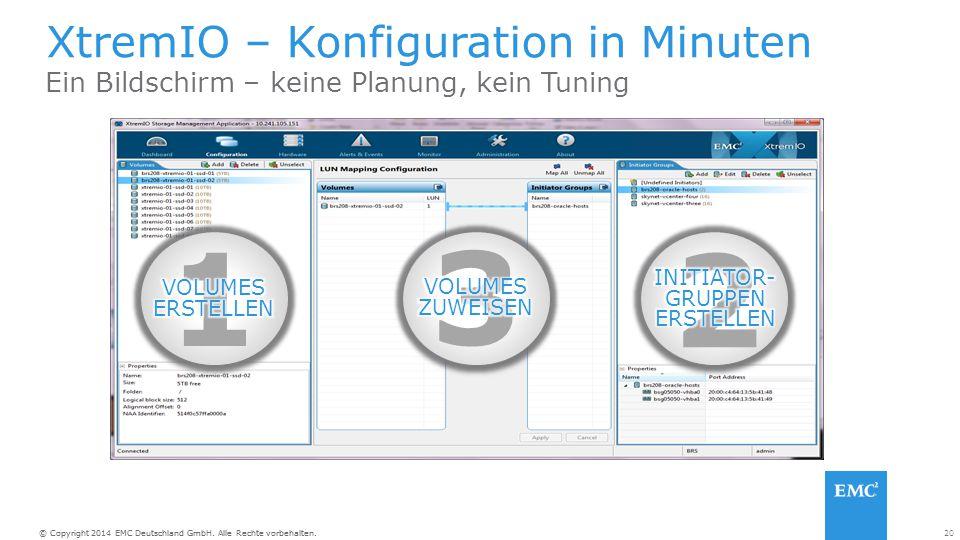 20© Copyright 2014 EMC Deutschland GmbH. Alle Rechte vorbehalten. XtremIO – Konfiguration in Minuten Ein Bildschirm – keine Planung, kein Tuning 1 3 2