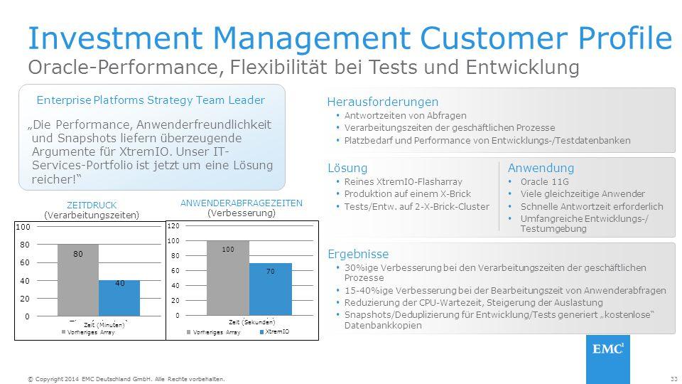 """33© Copyright 2014 EMC Deutschland GmbH. Alle Rechte vorbehalten. """"Die Performance, Anwenderfreundlichkeit und Snapshots liefern überzeugende Argument"""