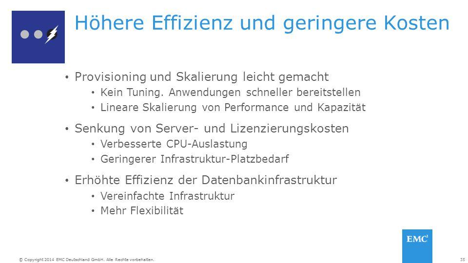 35© Copyright 2014 EMC Deutschland GmbH. Alle Rechte vorbehalten. Höhere Effizienz und geringere Kosten Provisioning und Skalierung leicht gemacht Kei