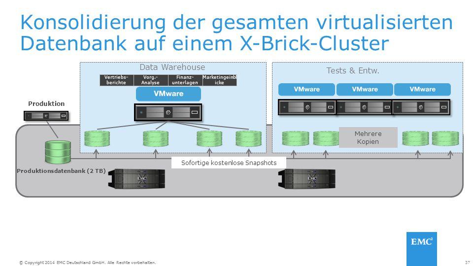 37© Copyright 2014 EMC Deutschland GmbH. Alle Rechte vorbehalten. Konsolidierung der gesamten virtualisierten Datenbank auf einem X-Brick-Cluster Prod