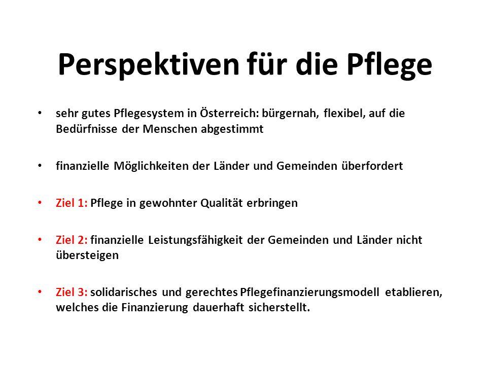 Perspektiven für die Pflege sehr gutes Pflegesystem in Österreich: bürgernah, flexibel, auf die Bedürfnisse der Menschen abgestimmt finanzielle Möglic