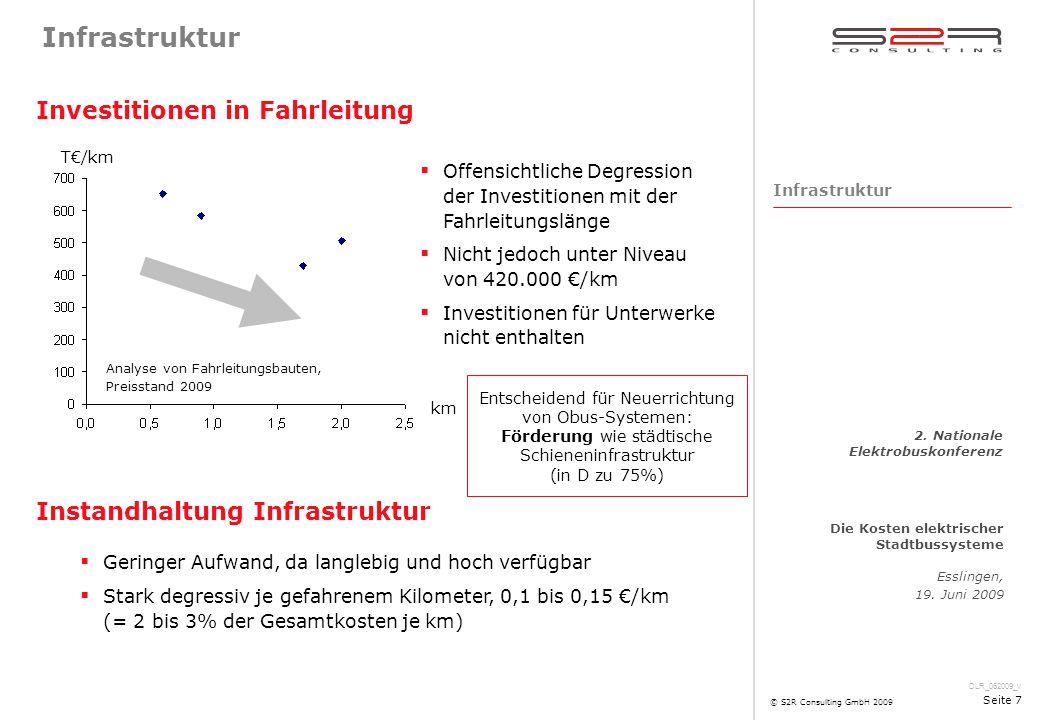 DLR_062009_v Die Kosten elektrischer Stadtbussysteme Esslingen, 19. Juni 2009 2. Nationale Elektrobuskonferenz © S2R Consulting GmbH 2009 Seite 7 Infr