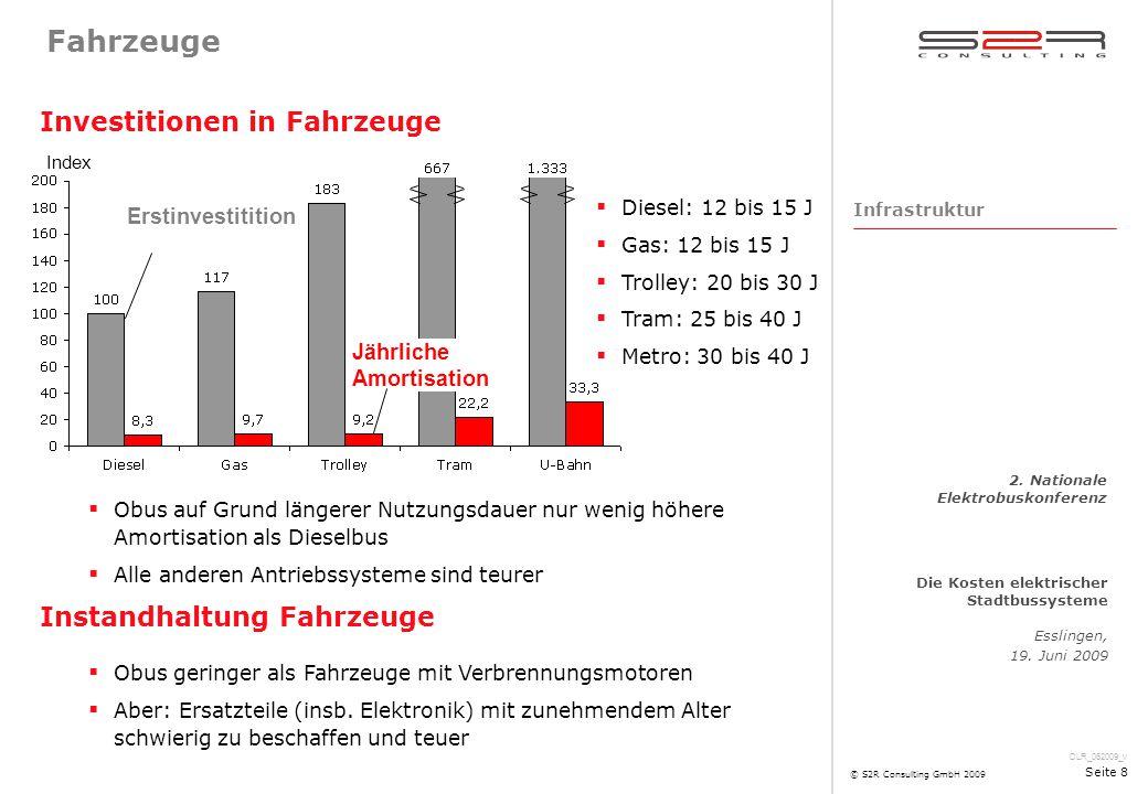 DLR_062009_v Die Kosten elektrischer Stadtbussysteme Esslingen, 19. Juni 2009 2. Nationale Elektrobuskonferenz © S2R Consulting GmbH 2009 Seite 8 Fahr