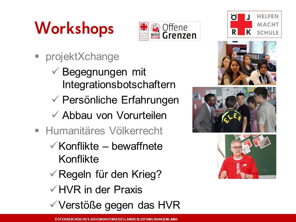 ÖSTERREICHISCHES JUGENDROTKREUZ | LANDESLEITUNG BURGENLAND Workshops  projektXchange Begegnungen mit Integrationsbotschaftern Persönliche Erfahrungen