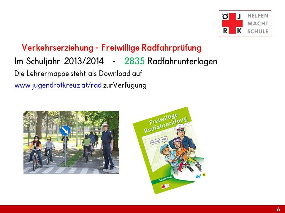 66 Verkehrserziehung - Freiwillige Radfahrprüfung Im Schuljahr 2013/2014 - 2835 Radfahrunterlagen Die Lehrermappe steht als Download auf www.jugendrot