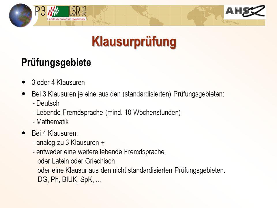 Klausurprüfung Prüfungsgebiete 3 oder 4 Klausuren Bei 3 Klausuren je eine aus den (standardisierten) Prüfungsgebieten: - Deutsch - Lebende Fremdsprache (mind.