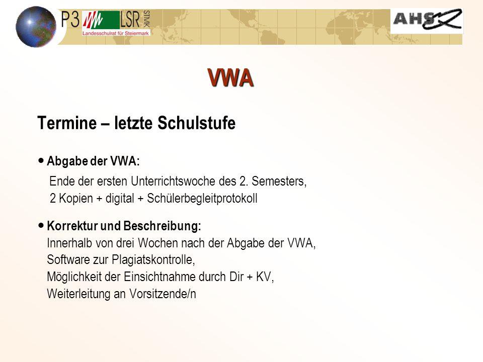 VWA Termine – letzte Schulstufe Abschließende Besprechung zwischen Betreuer/in und Kandidat/in im Hinblick auf Präsentation und Diskussion der VWA Terminvereinbarung für Präsentation mit Vorsitzende/r/m: Termin ev.