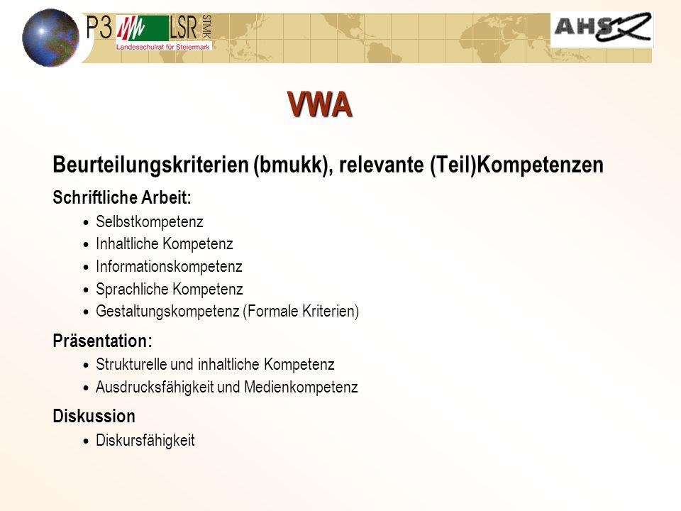VWA Beurteilungskriterien (bmukk), relevante (Teil)Kompetenzen Schriftliche Arbeit: Selbstkompetenz Inhaltliche Kompetenz Informationskompetenz Sprachliche Kompetenz Gestaltungskompetenz (Formale Kriterien) Präsentation: Strukturelle und inhaltliche Kompetenz Ausdrucksfähigkeit und Medienkompetenz Diskussion Diskursfähigkeit