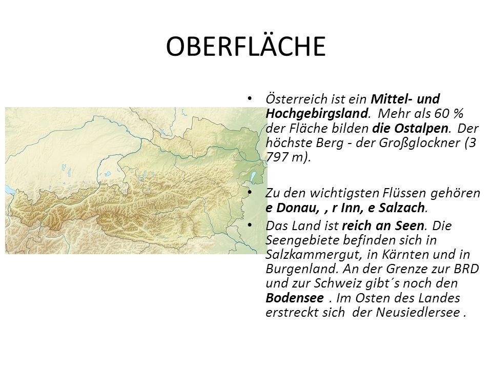 OBERFLÄCHE Österreich ist ein Mittel- und Hochgebirgsland. Mehr als 60 % der Fläche bilden die Ostalpen. Der höchste Berg - der Großglockner (3 797 m)