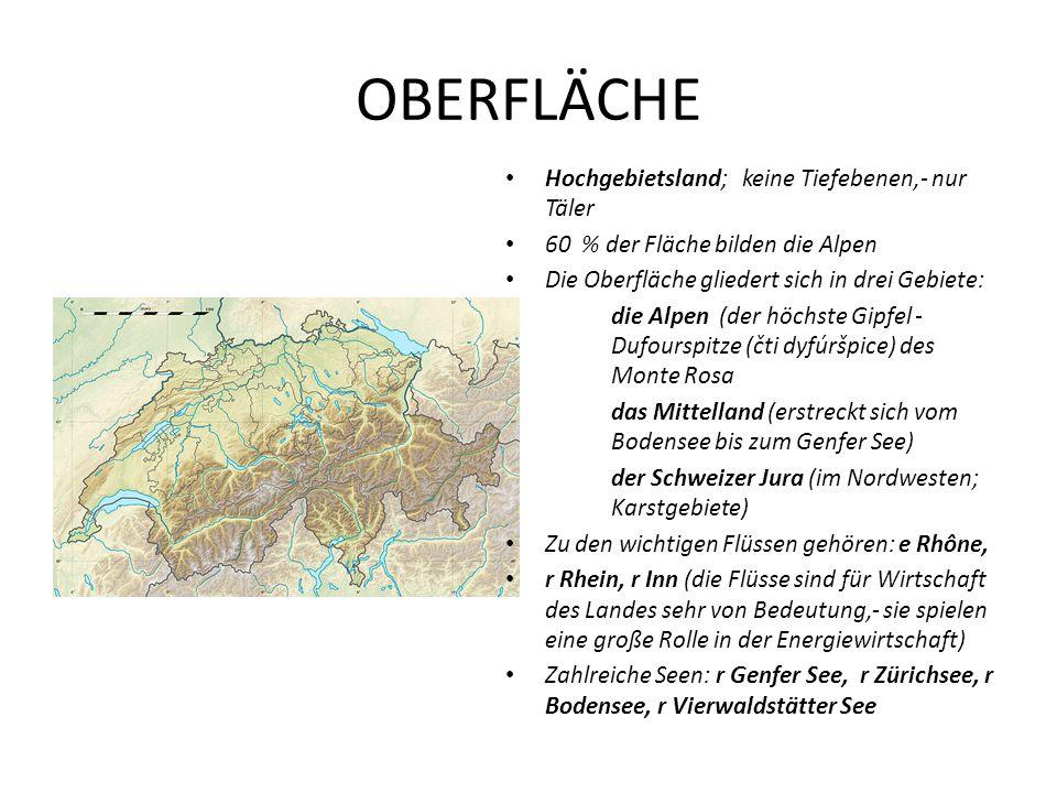 OBERFLÄCHE Hochgebietsland; keine Tiefebenen,- nur Täler 60 % der Fläche bilden die Alpen Die Oberfläche gliedert sich in drei Gebiete: die Alpen (der