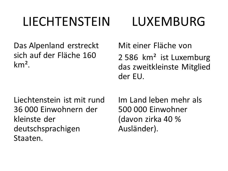 LIECHTENSTEIN LUXEMBURG Das Alpenland erstreckt sich auf der Fläche 160 km². Liechtenstein ist mit rund 36 000 Einwohnern der kleinste der deutschspra