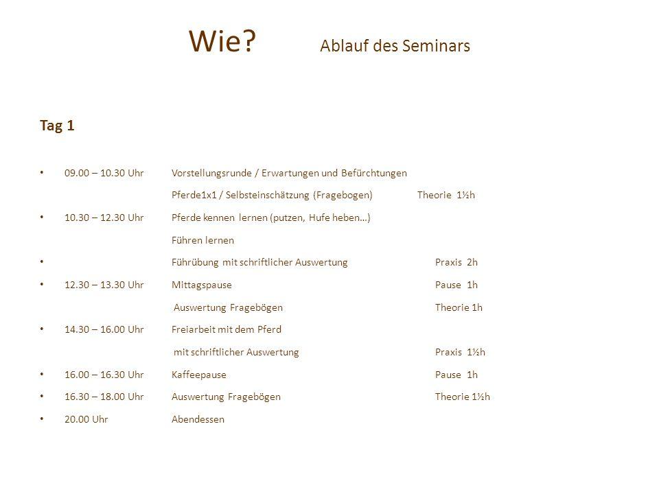 Wie? Ablauf des Seminars Tag 1 09.00 – 10.30 UhrVorstellungsrunde / Erwartungen und Befürchtungen Pferde1x1 / Selbsteinschätzung (Fragebogen) Theorie
