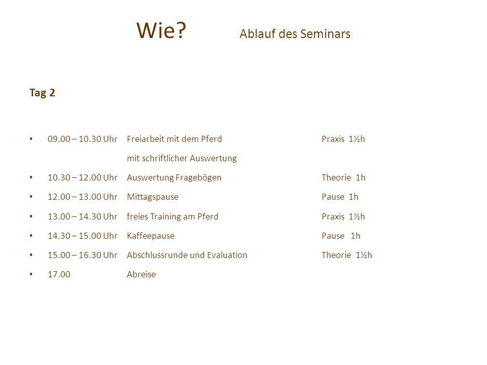 Wie? Ablauf des Seminars Tag 2 09.00 – 10.30 UhrFreiarbeit mit dem PferdPraxis 1½h mit schriftlicher Auswertung 10.30 – 12.00 UhrAuswertung Fragebögen