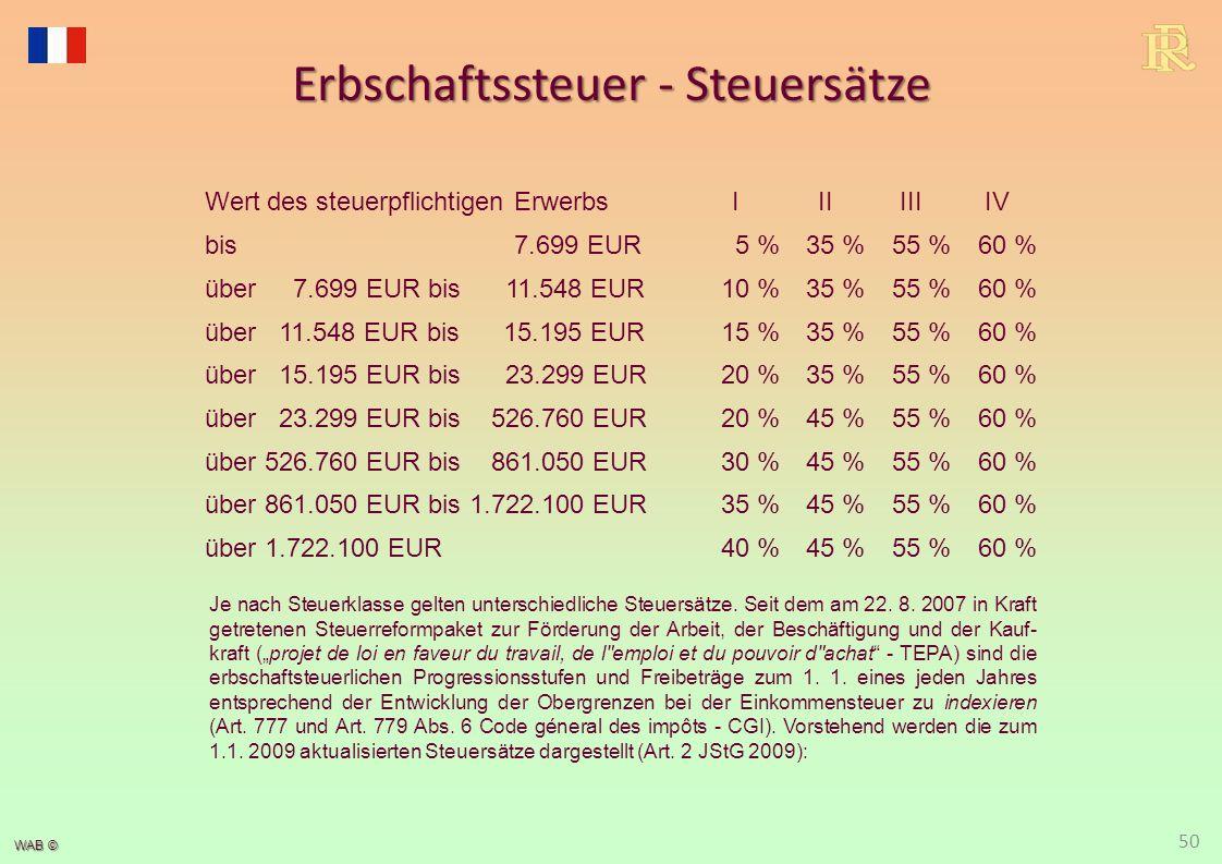 WAB © Erbschaftssteuer - Steuersätze 50 Wert des steuerpflichtigen ErwerbsIIIIIIIV bis 7.699 EUR5 %35 %55 %60 % über 7.699 EUR bis 11.548 EUR10 %35 %5