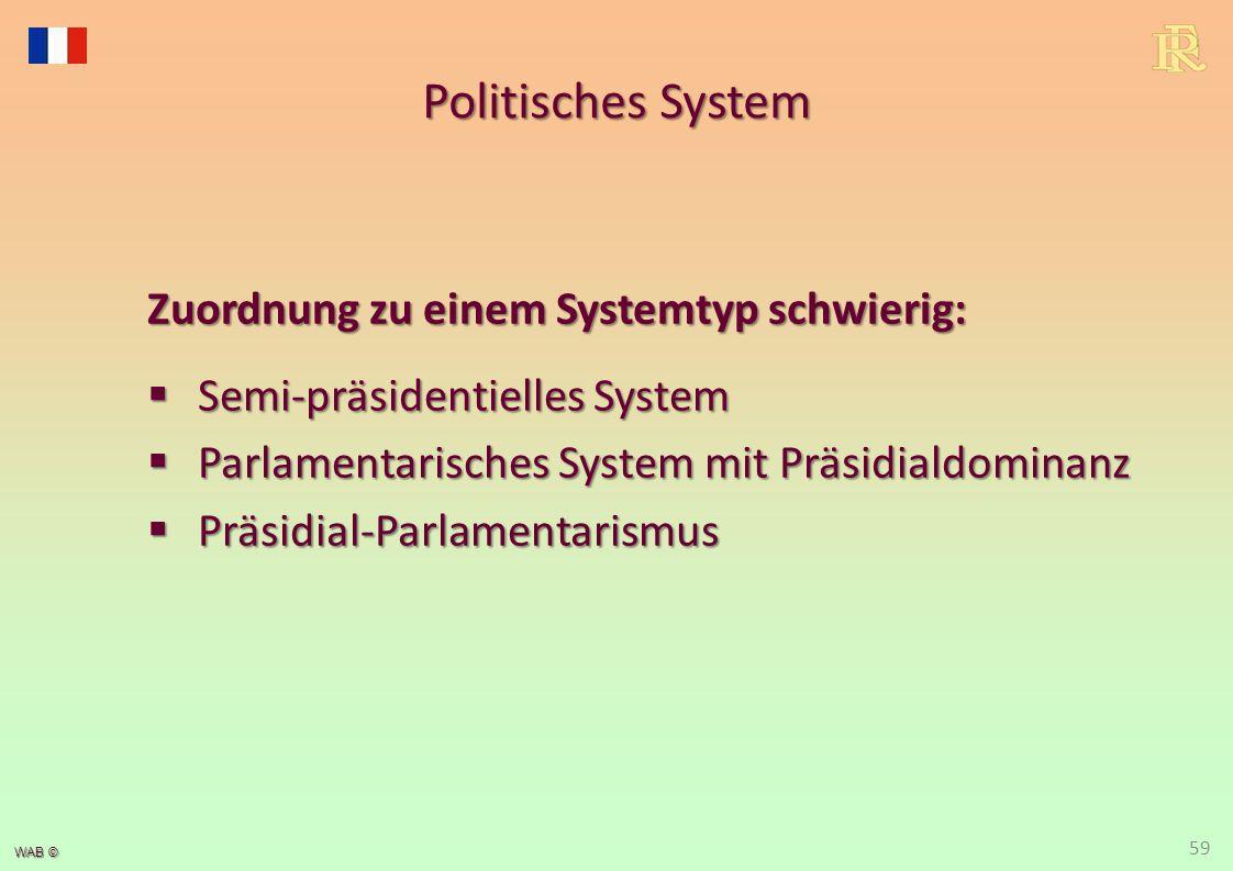 WAB © Politisches System Zuordnung zu einem Systemtyp schwierig:  Semi-präsidentielles System  Parlamentarisches System mit Präsidialdominanz  Präs