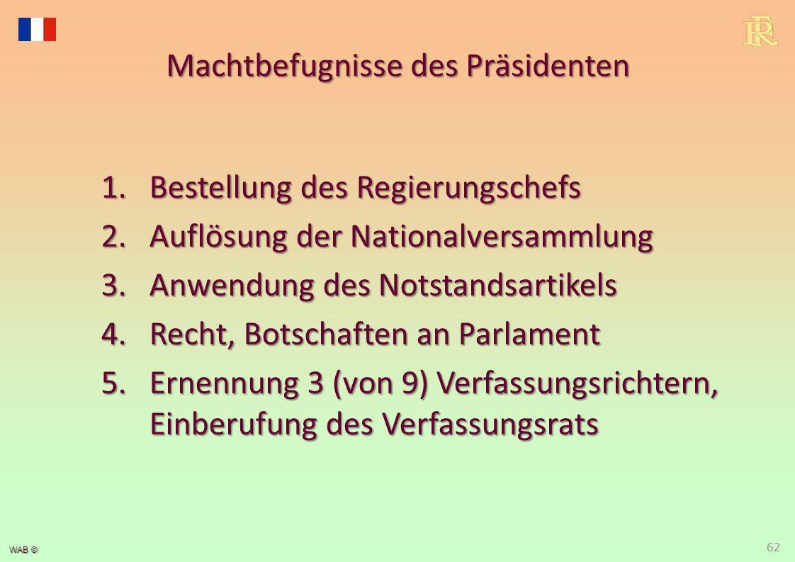 WAB © Machtbefugnisse des Präsidenten 1.Bestellung des Regierungschefs 2.Auflösung der Nationalversammlung 3.Anwendung des Notstandsartikels 4.Recht,