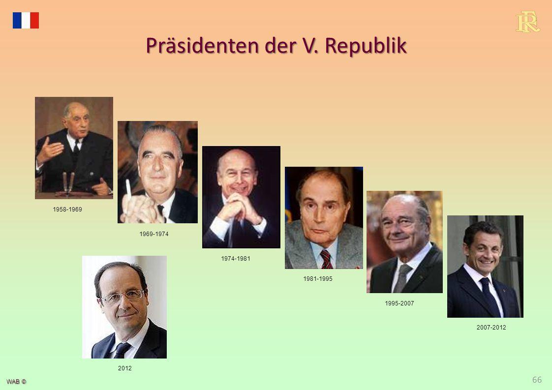 WAB © Präsidenten der V. Republik 1981-1995 1969-1974 1995-2007 1974-1981 2007-2012 1958-1969 66 2012