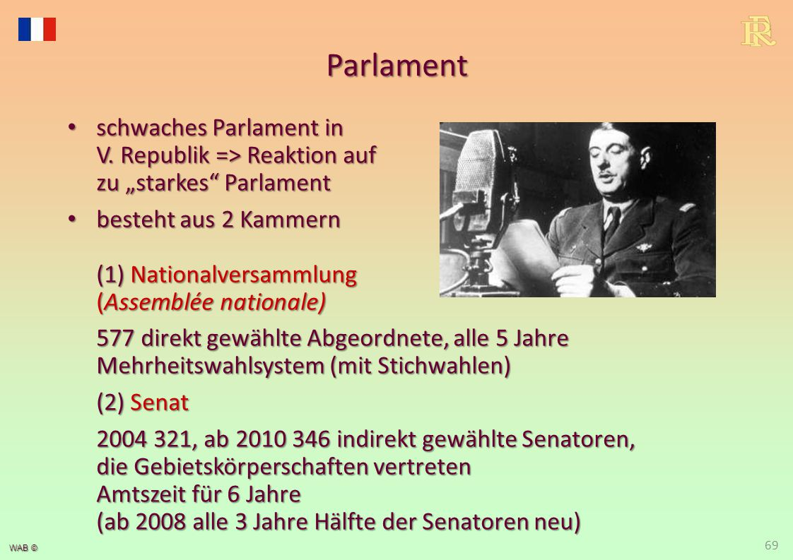WAB © Parlament schwaches Parlament in V.