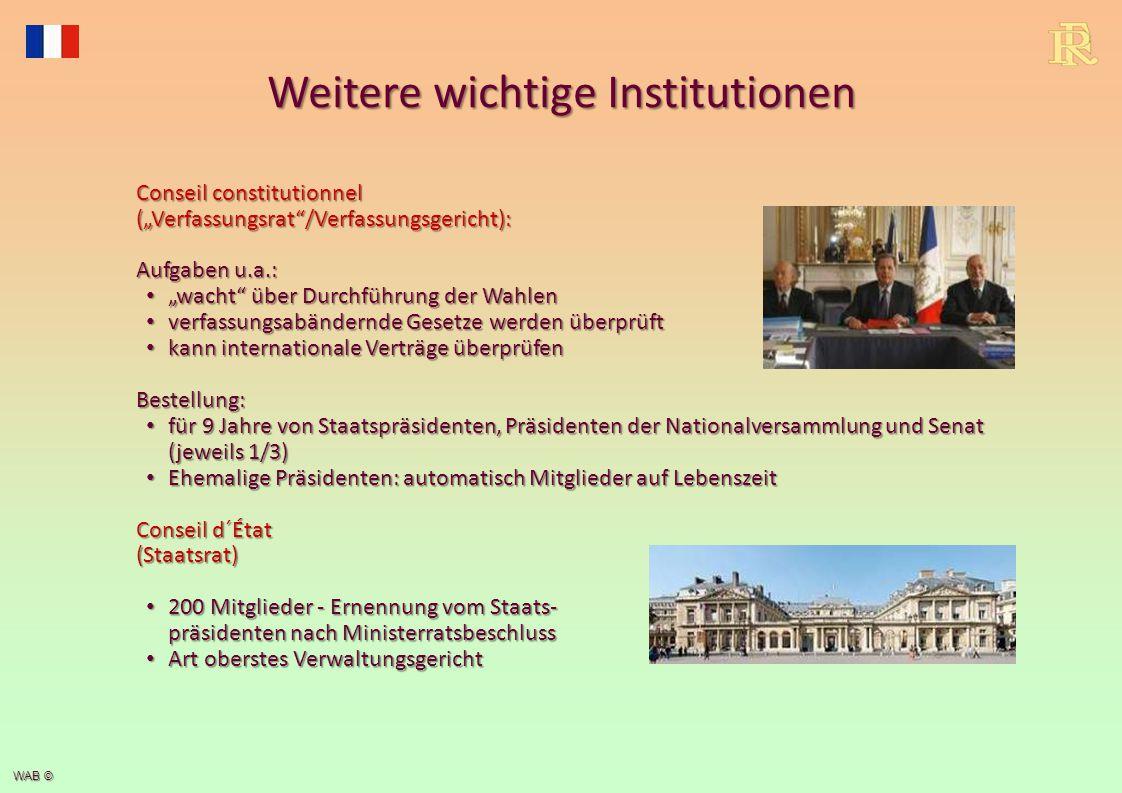 """WAB © Weitere wichtige Institutionen Conseil constitutionnel (""""Verfassungsrat""""/Verfassungsgericht): Aufgaben u.a.: """"wacht"""" über Durchführung der Wahle"""