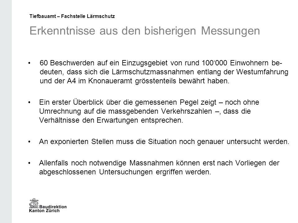 Erkenntnisse aus den bisherigen Messungen 60 Beschwerden auf ein Einzugsgebiet von rund 100'000 Einwohnern be- deuten, dass sich die Lärmschutzmassnahmen entlang der Westumfahrung und der A4 im Knonaueramt grösstenteils bewährt haben.