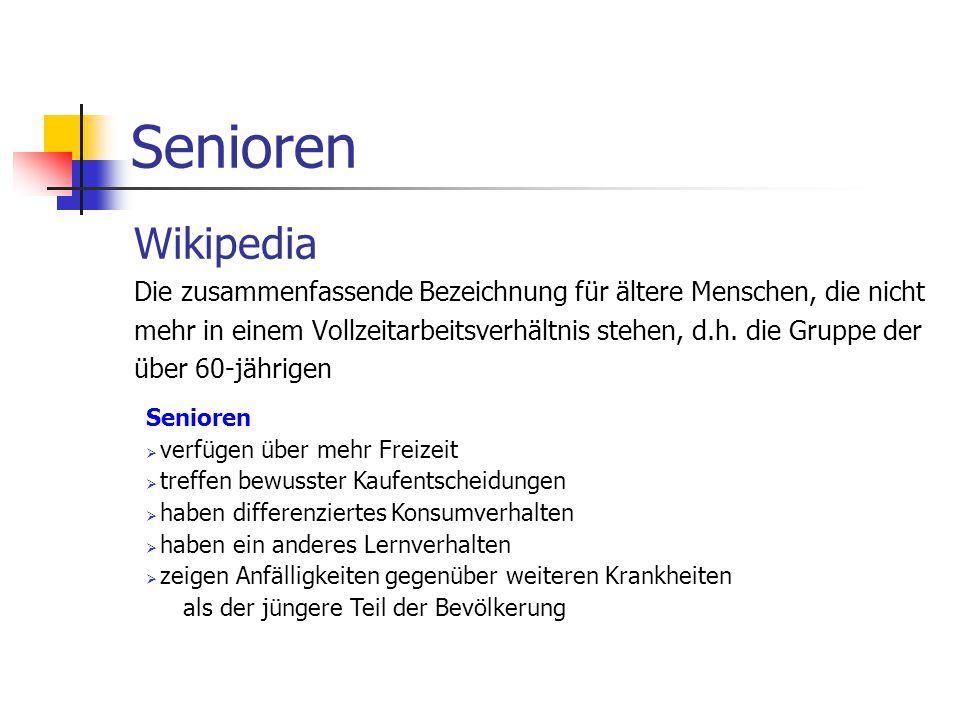 Senioren Wikipedia Die zusammenfassende Bezeichnung für ältere Menschen, die nicht mehr in einem Vollzeitarbeitsverhältnis stehen, d.h.