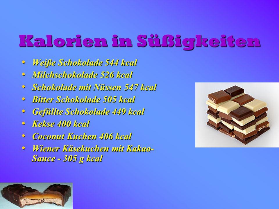 Kalorien in Süßigkeiten Weiße Schokolade 544 kcal Weiße Schokolade 544 kcal Milchschokolade 526 kcal Milchschokolade 526 kcal Schokolade mit Nüssen 54