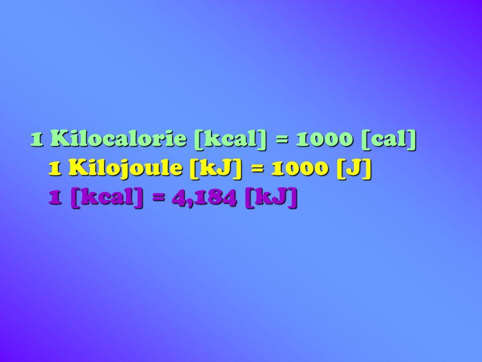 1 Kilocalorie [kcal] = 1000 [cal] 1 Kilojoule [kJ] = 1000 [J] 1 [kcal] = 4,184 [kJ]