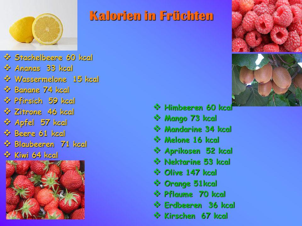 Kalorien in Früchten  Stachelbeere 60 kcal  Ananas 33 kcal  Wassermelone 15 kcal  Banane 74 kcal  Pfirsich 59 kcal  Zitrone 46 kcal  Apfel 57 k
