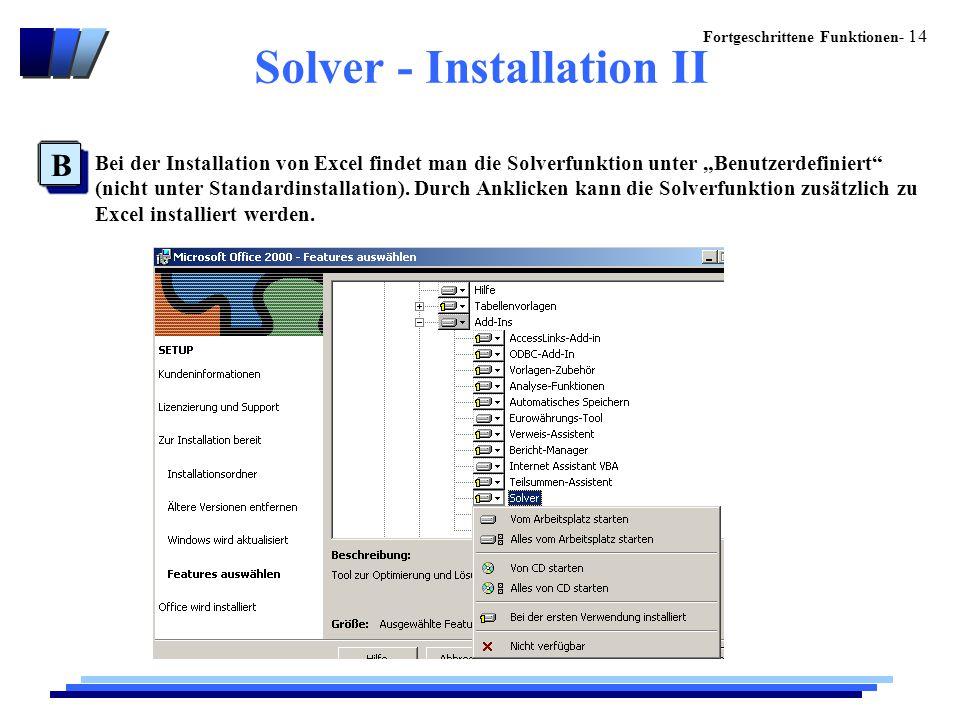 """Fortgeschrittene Funktionen- 14 Solver - Installation II B Bei der Installation von Excel findet man die Solverfunktion unter """"Benutzerdefiniert (nicht unter Standardinstallation)."""