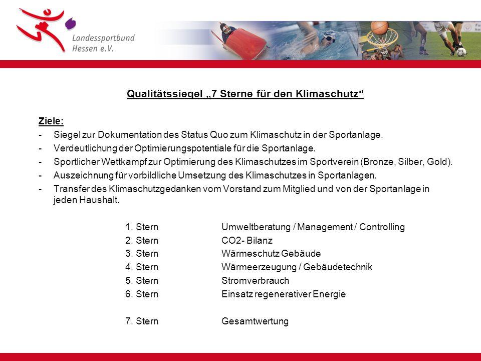 """Qualitätssiegel """"7 Sterne für den Klimaschutz Ziele: -Siegel zur Dokumentation des Status Quo zum Klimaschutz in der Sportanlage."""