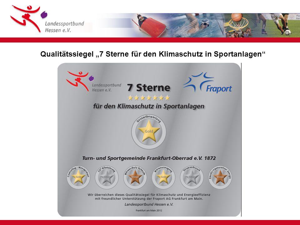 """Qualitätssiegel """"7 Sterne für den Klimaschutz in Sportanlagen"""