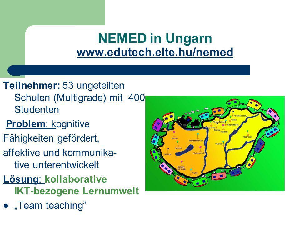 NEMED in Ungarn www.edutech.elte.hu/nemed www.edutech.elte.hu/nemed Teilnehmer: 53 ungeteilten Schulen (Multigrade) mit 400 Studenten Problem: kogniti