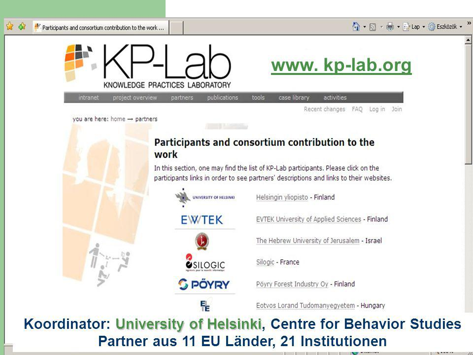 University of Helsinki Koordinator: University of Helsinki, Centre for Behavior Studies Partner aus 11 EU Länder, 21 Institutionen www.