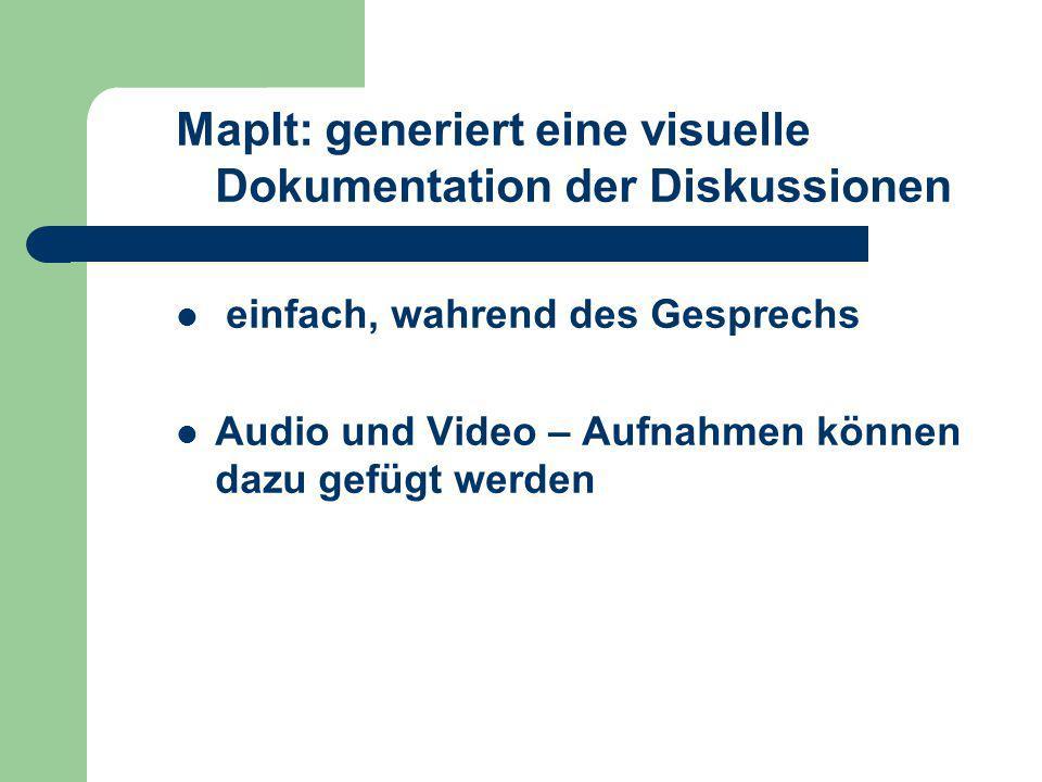 MapIt: generiert eine visuelle Dokumentation der Diskussionen einfach, wahrend des Gesprechs Audio und Video – Aufnahmen können dazu gefügt werden