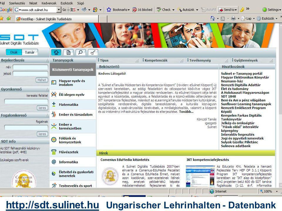 http://sdt.sulinet.huhttp://sdt.sulinet.hu Ungarischer Lehrinhalten - Datenbank