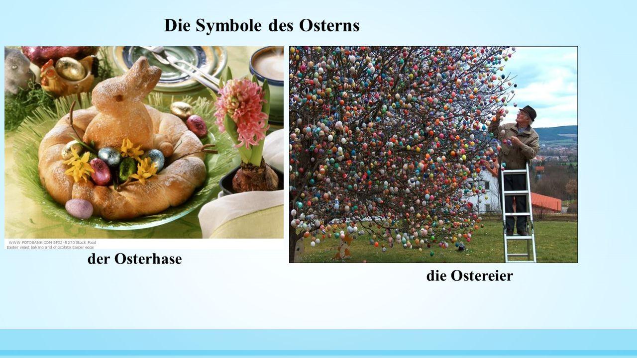 Die Symbole des Osterns der Osterhase die Ostereier