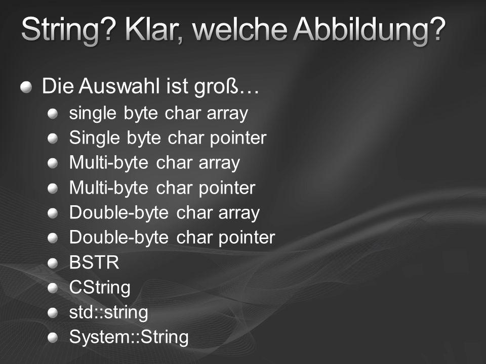 Die Auswahl ist groß… single byte char array Single byte char pointer Multi-byte char array Multi-byte char pointer Double-byte char array Double-byte