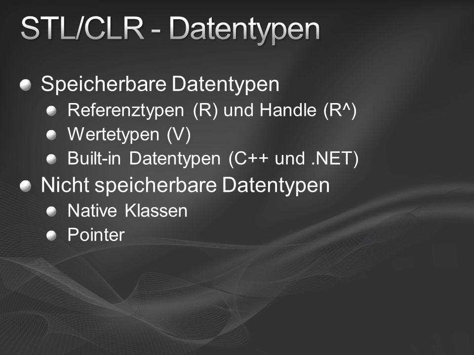 Speicherbare Datentypen Referenztypen (R) und Handle (R^) Wertetypen (V) Built-in Datentypen (C++ und.NET) Nicht speicherbare Datentypen Native Klassen Pointer
