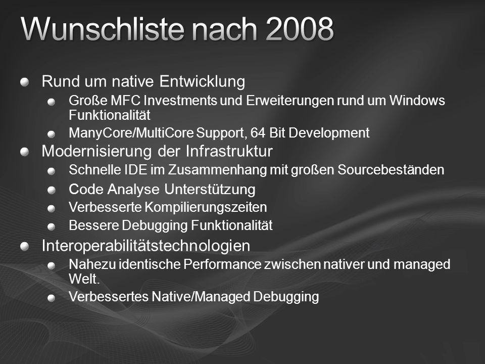 Rund um native Entwicklung Große MFC Investments und Erweiterungen rund um Windows Funktionalität ManyCore/MultiCore Support, 64 Bit Development Moder